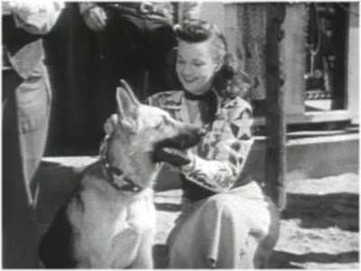 Roy Rogers dog Bullet gets an award from Dale Evans