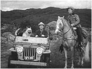 Roy Rogers' dog Bullet riding in the Jeep Nellybelle